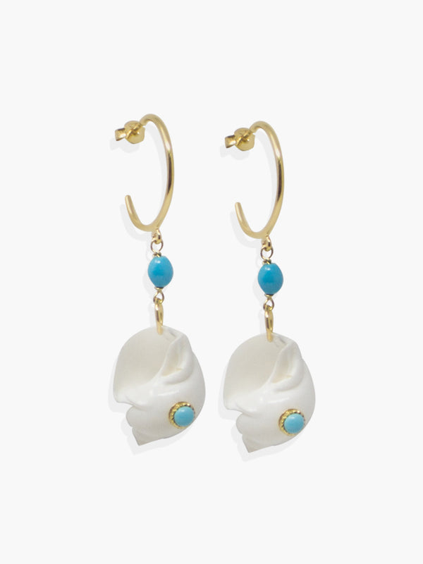 Nassau Shell Hoop Earrings with turquoise beads. Cast from 18k gold over silver.