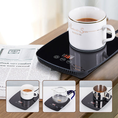 coffee mug warmer cup heated smart with auto shut off 12v power 25 Watt Electric Beverage Warmer with Adjustable temperature office 131℉/ 55℃or 167℉/ 75℃ (With white Mug)