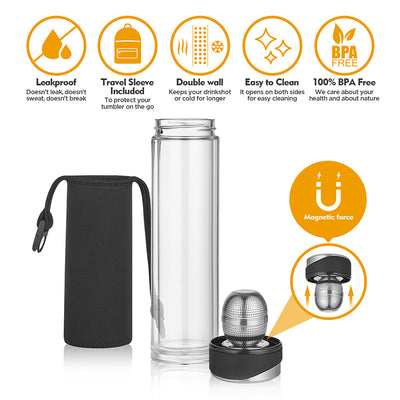 Tea Tumbler with Infuser | BPA Free Double Wall Glass Travel Tea Mug with Stainless Steel Ball Filter | Leakproof Tea Bottle with Strainer For Loose Leaf Tea and Fruit Water 16 Ounce