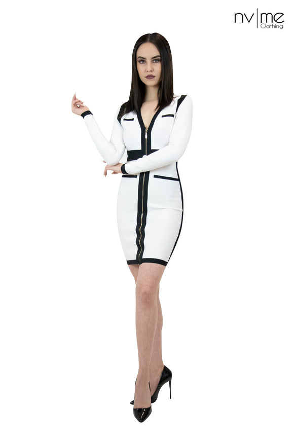 Wht/blk L/S Bandage Dress