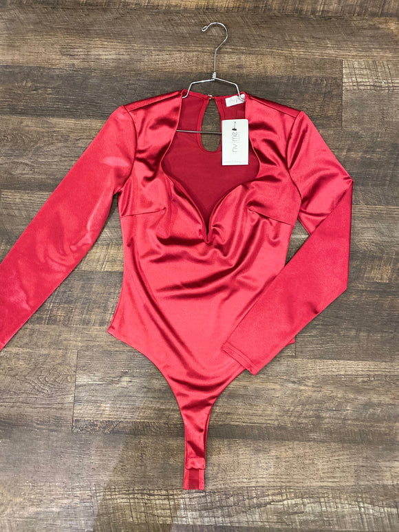 Cranberry Satin Bodysuit