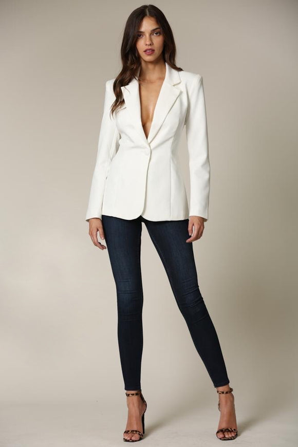 Melody White Backless Blazer