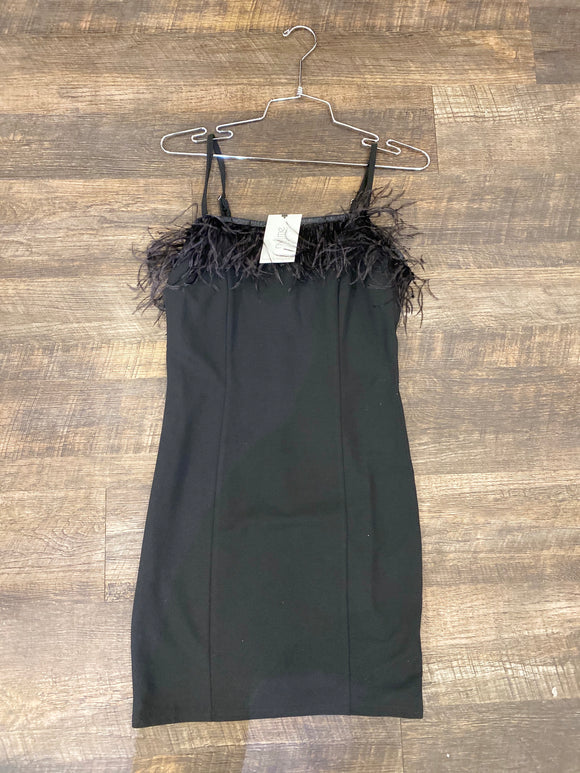 Black Short Feather Dress