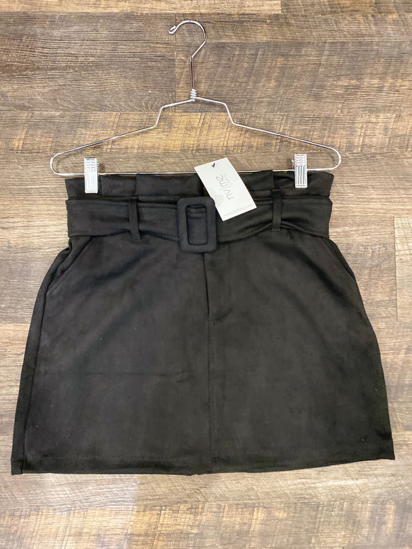 Black Faux Suede Belt Skirt