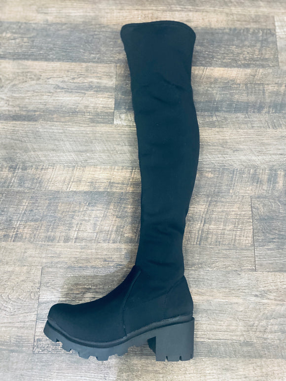 Leema Round Stretchy Knee Length Boots