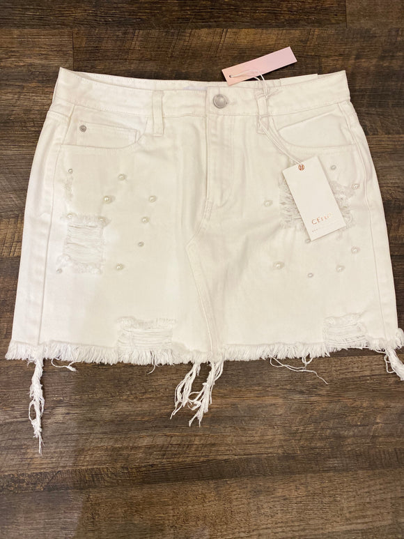 White Denim Pearl Skirt