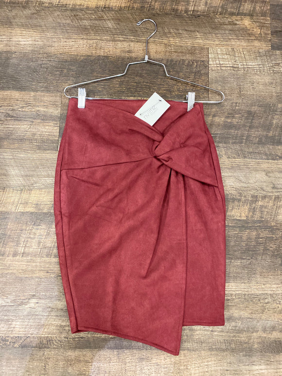 Burgundy Suede Knot Skirt