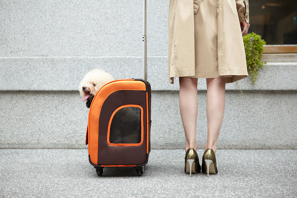 Perfect Travel Pet Stroller Height Adjustable Dog Pram Removable Crate Dog Carrier Backpack - Orange/Brown