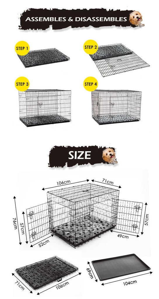 Extra Large Dog Kennel Electro Coating Dog Crate Carrier 2 Door Dog Cage With Cushion