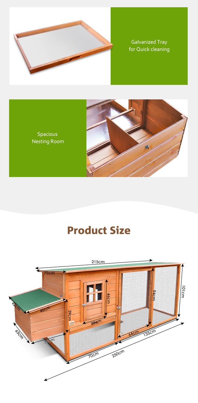 Quality Fir Chicken Coop House Outdoor W/ Spacious Play Area Pet Rabbit Ducks Guinea Pigs Chicken Cagesting Box