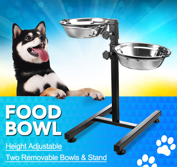 Adjustable Elevated Dog Bowl Easy Clean Puppy Kitty Cat Bowl W/ 2 Stainless Steel Bowls