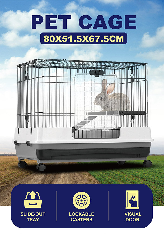 New Metal Rabbit Cage Hutch Cat Ferret Guinea Pigs House Small Animal Home w/Wheel