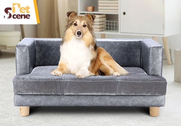Large Size Pet Bed Faux Velvet Puppy Dog Cat Bed Sofa Couch Rectangular Luxury Lounge
