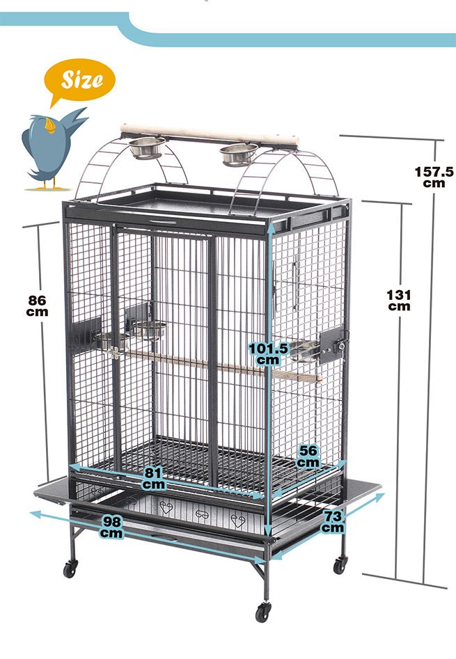 157.5cm Large Elegant Bird Cage Lacework Style Bird Aviary Wrought Iron Parrot Bird Cage with 4 Castor Wheels