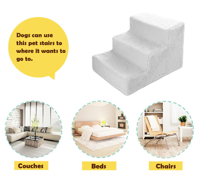 Essential Bed Dog Ramp Comfortable Sheepskin-like Puppy Kitten Cat Dog Step 3 Step Quick Fix Pet Stair