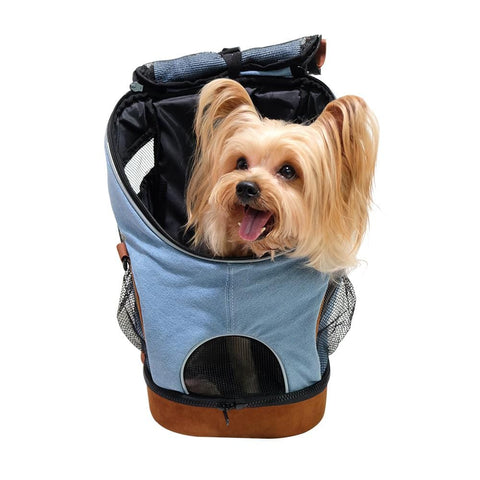 Image of Lightweight Dog Carrier Backpack Trendy Denim Front Pet Carrier Doggy Bag for Small Pets
