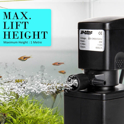 1.0m 600LH Aqua Aquarium Filter Pump Submersible Pump Max Lift Weight 1m