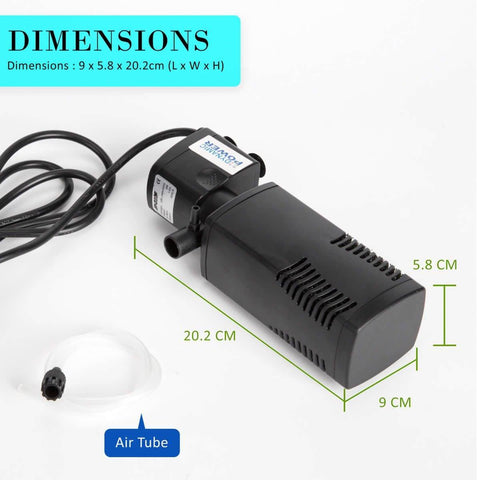 1.0m 600LH Aqua Aquarium Filter Pump Submersible Pump Product Dimensions