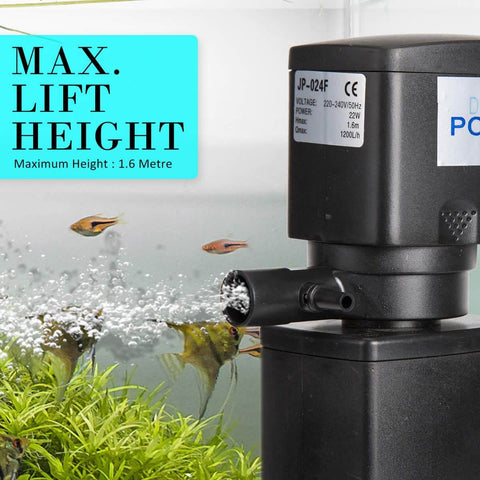 1.6m 1200LH Aqua Aquarium Filter Pump Submersible Pump Max Lift Weight 1.6m