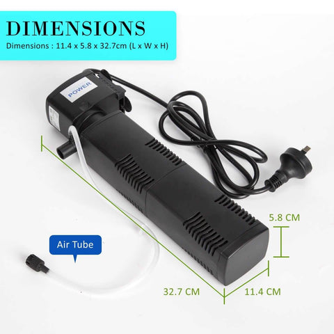 Image of 1.6m 1200LH Aqua Aquarium Filter Pump Submersible Pump Product Dimensions