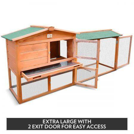 1.8M Wooden Chicken Coop Rabbit Hutch 2 Exit Door Everyday Pets