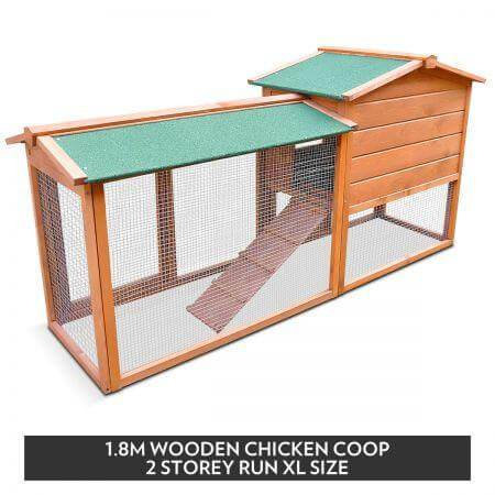 1.8M Wooden Chicken Coop Rabbit Hutch 2 Storey Run Everyday Pets