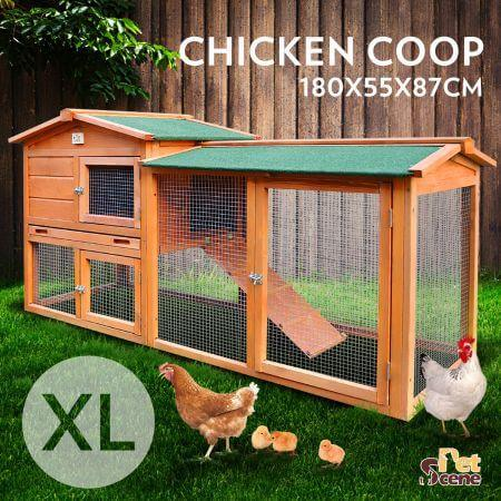 1.8M Wooden Chicken Coop Rabbit Hutch Guinea Pig Ferret Cage Hen House 2 Storey Run Everyday Pets