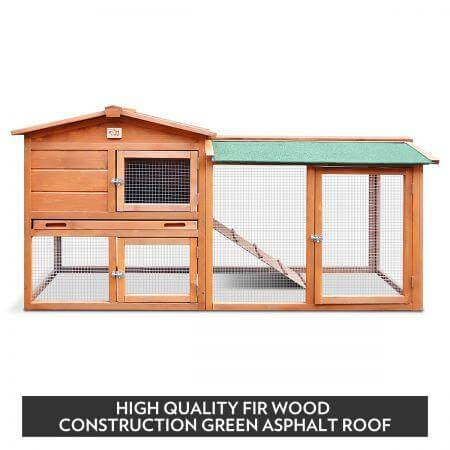 1.8M Wooden Chicken Coop Rabbit Hutch High Quality Firwood Green Asphalt Roof Everyday Pets