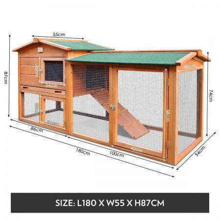 1.8M Wooden Chicken Coop Rabbit Hutch Measurement and Diameter Everyday Pets