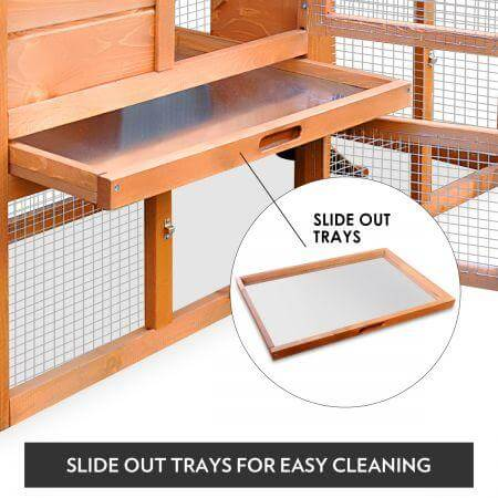 1.8M Wooden Chicken Coop Rabbit Hutch Slide Out Tray Everyday Pets