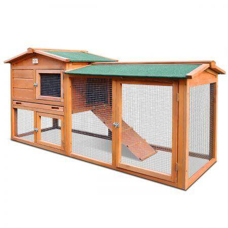 1.8M Wooden Chicken Coop Rabbit Hutch Waterproof and Anti-Termite Everyday Pets