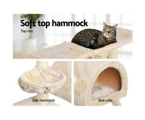 Image of 100cm Cat Tree Soft Top Sleeping Hammock Bed Cube and Cradle Beige