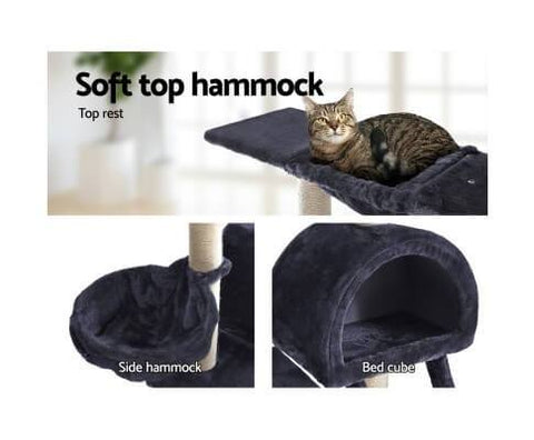 Image of 100cm Cat Tree Soft Top Sleeping Hammock Bed Cube and Cradle Dark Grey