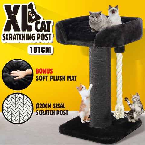 Image of 101cm Sisal Scratch Post Cat Climbing Frame With Rope