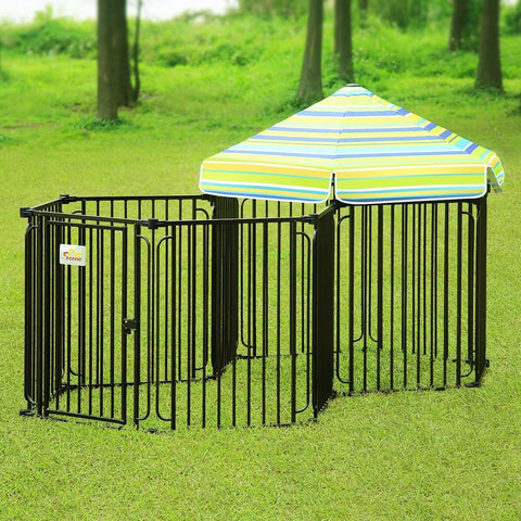 Image of 10 Panel Pet Dog Playpen Puppy Crate Exercise Cage Double Enclosure W Gazebo Cover