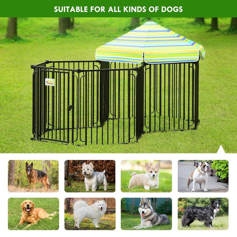 Image of 10 Panel Pet Dog Playpen Puppy Crate Exercise Cage Enclosure With Gazebo Cover Suitable For All Kinds of Dogs