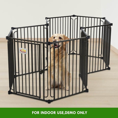Image of 10 Panel Pet Dog Playpen Puppy Crate Exercise Cage Enclosure W Gazebo Cover Indoor Use