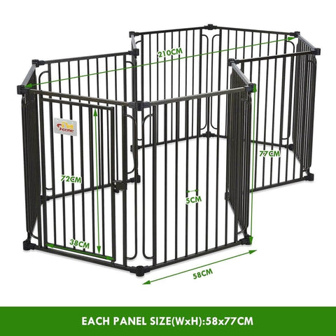 Image of 10 Panel Pet Dog Playpen Puppy Crate Exercise Cage Enclosure W Gazebo Cover Measurement and Dimension