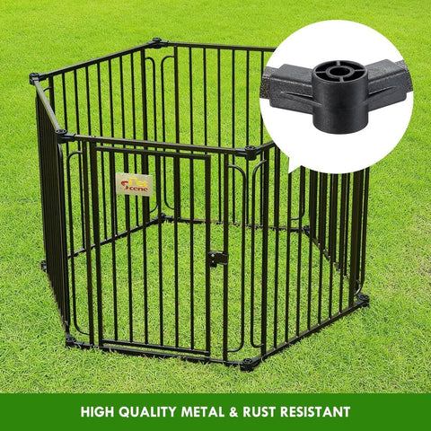 Image of 10 Panel Pet Dog Playpen Puppy Crate Exercise Cage Enclosure W Gazebo Cover Rust Resistant and High Quality Metal
