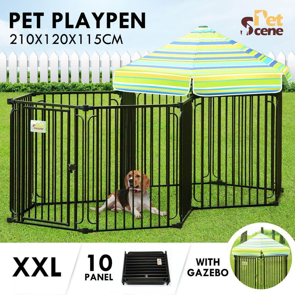 10 Panel Pet Dog Playpen Puppy Crate Exercise Cage Enclosure With Gazebo Cover