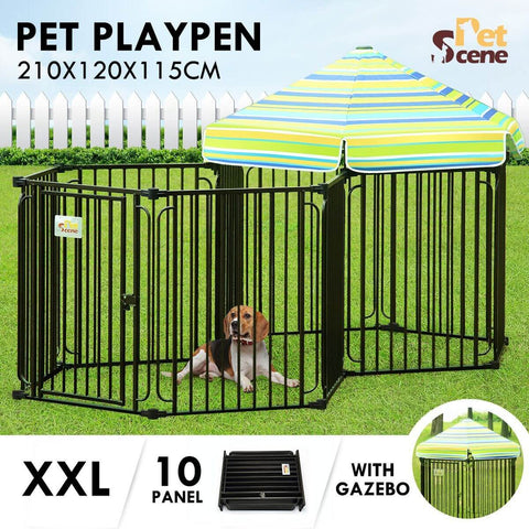 Image of 10 Panel Pet Dog Playpen Puppy Crate Exercise Cage Enclosure With Gazebo Cover