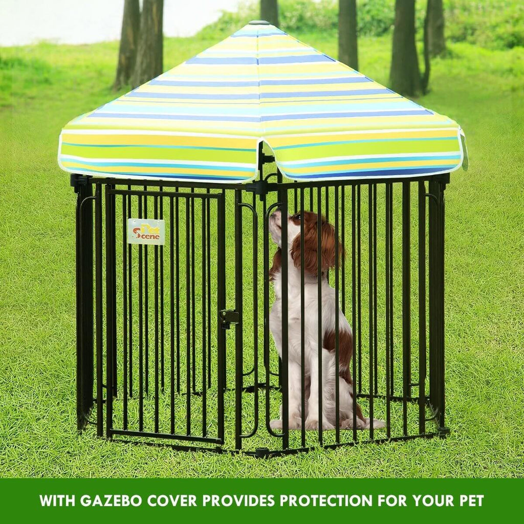 10 Panel Pet Dog Playpen Puppy Crate Exercise Cage Enclosure With Gazebo Cover with Pet Dog