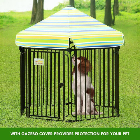 Image of 10 Panel Pet Dog Playpen Puppy Crate Exercise Cage Enclosure With Gazebo Cover with Pet Dog