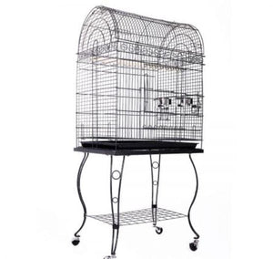 Large Stand-Alone Bird Cage On Wheels - Elegant Dome Top, Lacework Style Finish And Curve Legs Design