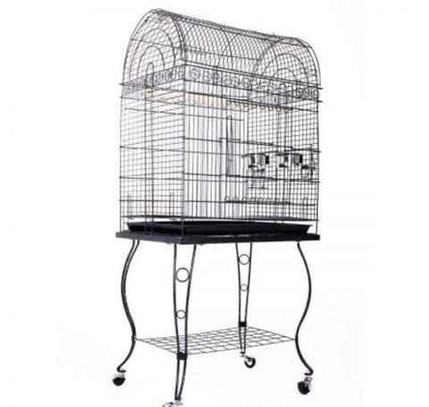 Image of Large Stand-Alone Bird Cage On Wheels - Elegant Dome Top, Lacework Style Finish And Curve Legs Design