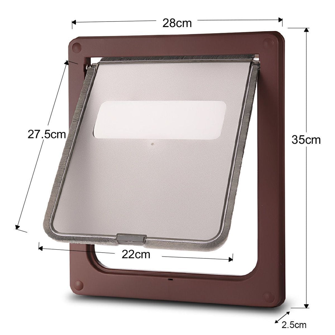 Large 2 Way Lockable Pet Dog Cat Brushy Flap Door-Coffee - Cat and Dog Door