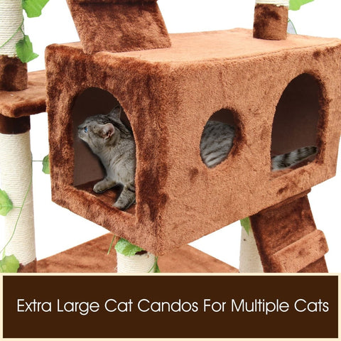 Image of Trendy Cat Scratching Post Triple Condo Cat Tower Fun Activity Cat Tree Gym 60 x 55 x 185cm