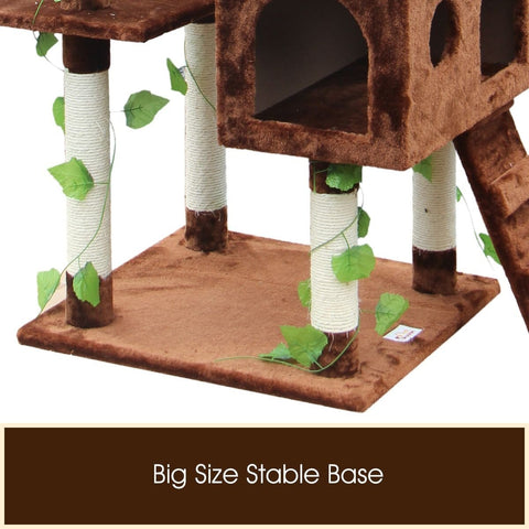 Trendy Cat Scratching Post Triple Condo Cat Tower Fun Activity Cat Tree Gym 60 x 55 x 185cm