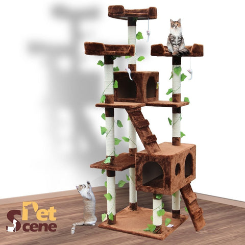 185cm Cat Gym Scratching Post Tree Extra Large Brown