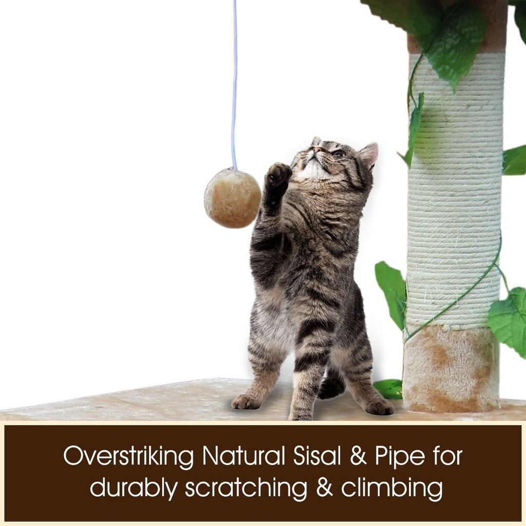 135cm Cat Gym Scratching Post Tree Medium-Beige